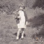 Yvonne Rundle, picking bluebells in 1940