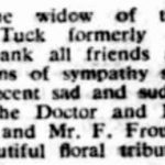 Newspaper announcement of the death of John Tuck