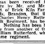 Newspaper clipping, announcing death of Charles Rutterford