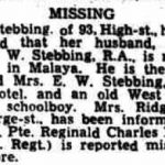 Newspaper clipping announcing that Reginald Ridgeon was missing