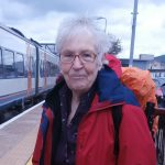 Yvonne Rundle, 2014, leaving Brandon railway station