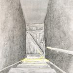 Sketch from Peter Woods, illustrating the stairway at Woodrows.