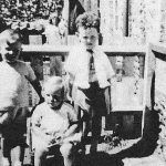 Peter Woods [right] with his adopted sister Beryl [foreground] and his cousin Richard May [left].