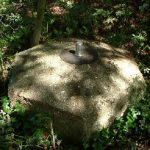Spigot mortar base, photographed in the grounds of the Old Rectory, 2003